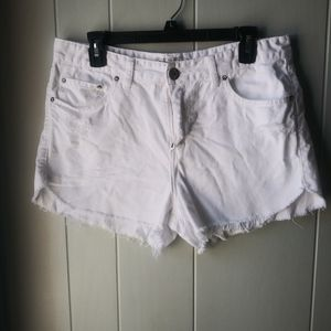 Free People White Distressed Cutoff Shorts Size 30